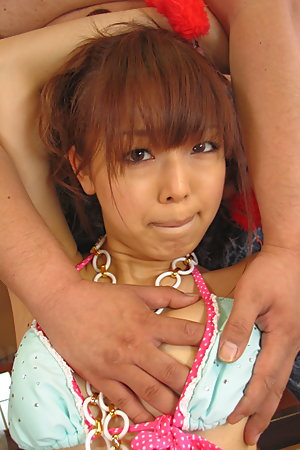 Cuffed Asian teen loves suckling this cock