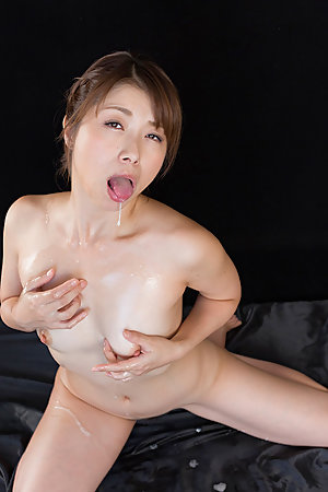 Tsubaki Katou Uses Cum to Suck Off A Bunch of Guys