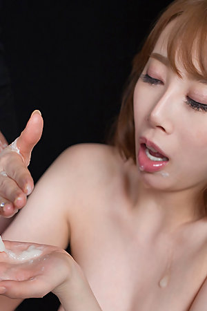 Aya Kisaki Jerks Off Cock with Cum